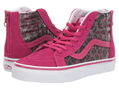 Vans Kids Sk8-Hi Zip (Little Kid/Big Kid) ((Leopard Mesh) Vivacious) Girls Shoes