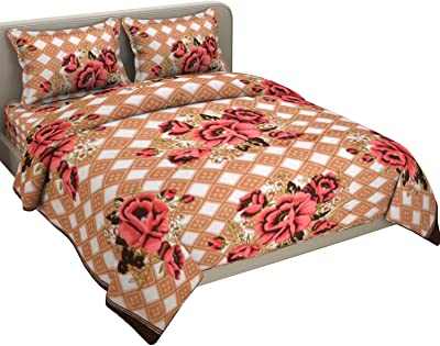Fabture Fleece Warm Double bedsheet with Pillow Covers for Winters(Browncheck)