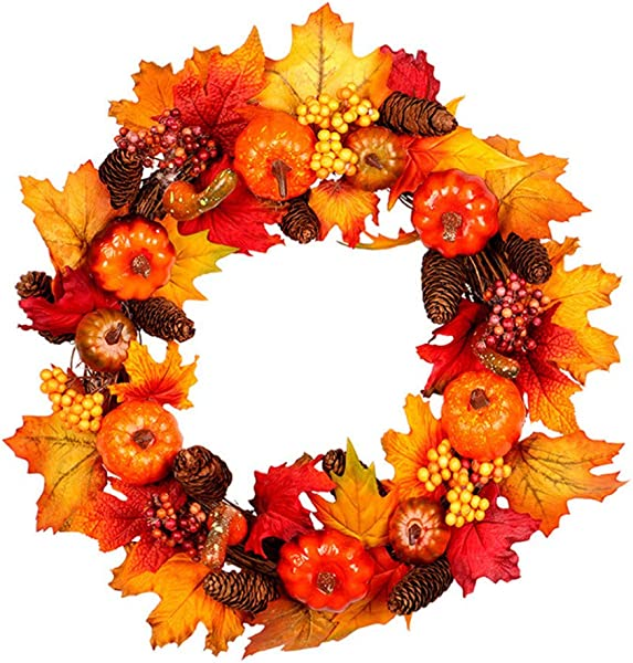 Jinshiband Artificial Pumpkin Pinecone And Maple Leaf Wreath Halloween Wreath Decorations