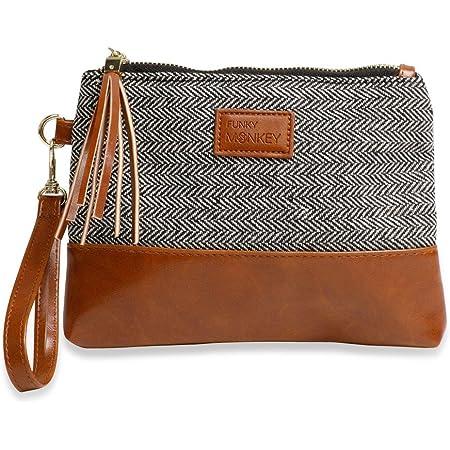 Oversized purse Canvas wristlet Clutch bag Zip bag Clutch purse Travel pouch organiser Coin purse Large wristlet Walnut wood handles