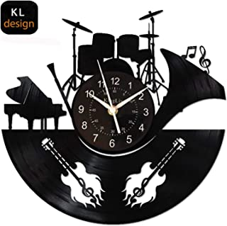 KingLive Music Instrument Black Vinyl Wall Clock 12 Inches(30cm) Home Interior Decor Wall Art Wall Sticker Exclusive Tailoring Design for Music Lovers (Music C)