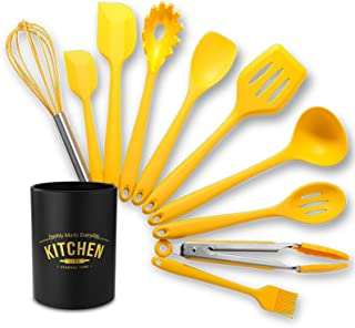 Silicone Utensil Set, Premium Silicone Kitchenware Heat Resistant Baking Spatula Utensils for Non-Stick Pans Turner Soup L...