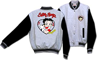 Licensed Betty Boop and Pudgy Her Pet Dot Baseball Jacket Gray and Black BJ-9028