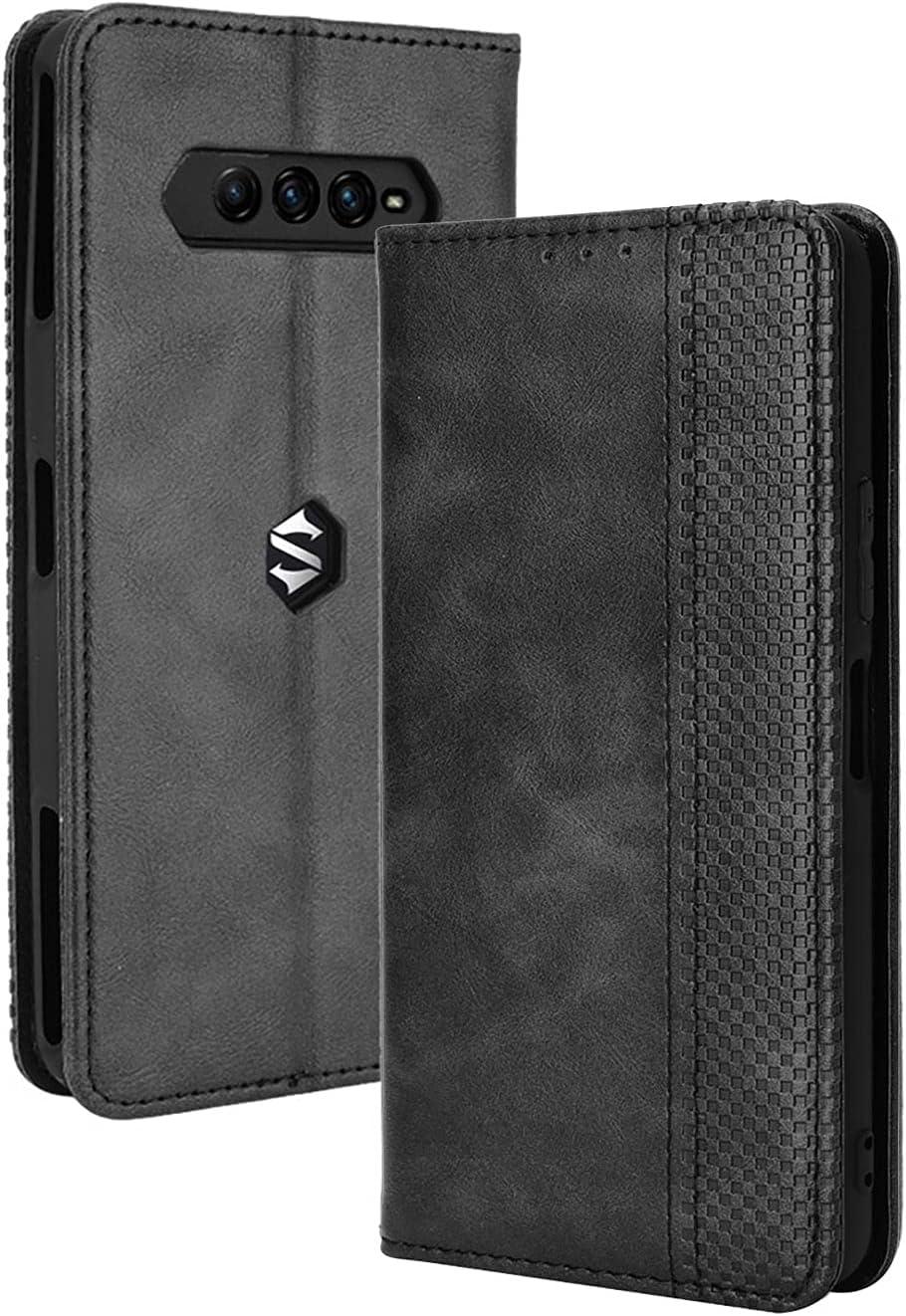 GOKEN Funda para Xiaomi Black Shark 4 Pro/Black Shark 4 Funda, Leather Folio Carcasa con Billetera, Magnética Premium PU/TPU Cuero FILP Case Cover con Soporte/Tapa Tarjetas (Negro)