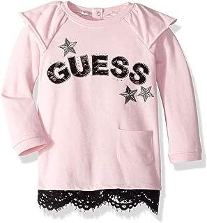 GUESS Girls' Little Eloise Graphic Ruffle Hem Long Sleeve Dress
