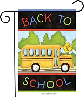 Briarwood Lane Back to School Bus Autumn Garden Flag Fall 12.5
