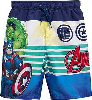 Marvel Boys Avengers Swim Trunk Shorts - Spiderman, Hulk, Captain America, Iron Man Superhero, Avengers Stripe, Size 7
