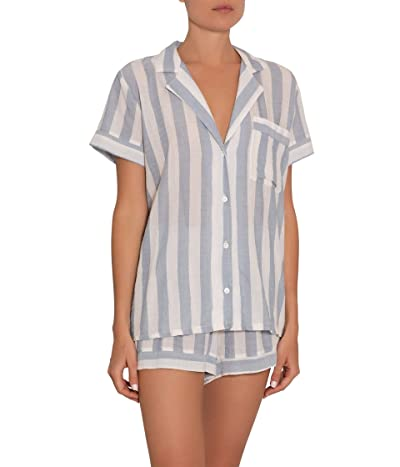 Eberjey Umbrella Stripes Woven Short PJ (Skye Blue/Cloud) Women