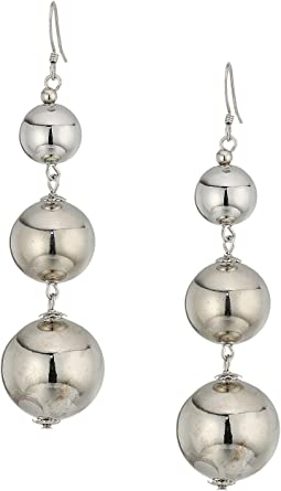 Kenneth Jay Lane Polished Silver 3 Small To Large Bead Drop Fishook Top Ear Earrings
