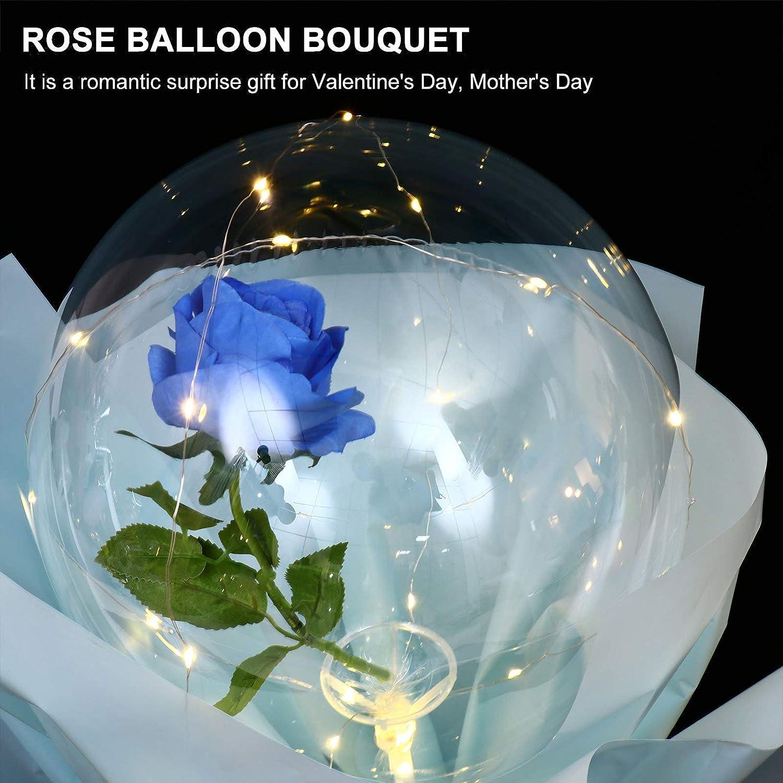 NUOBESTY Leuchtender Ballon-Rosenstrau/ß F/ührte Leuchtenden Bobo-Ball mit Rosafarbenen Blasenballons f/ür Hochzeitsgeschenke zum Valentinstagjubil/äum auf
