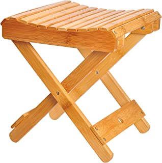 ECROCY Bamboo Folding Stool for Shaving & Shower Foot Rest - Fully Assembled - 12