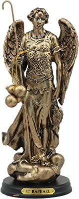 "Ebros Byzantine Catholic Church Archangel Raphael With Staff And Healing Oil Statue 8""Tall Saint Rafael The Archangel God's Healing Decorative Figurine"