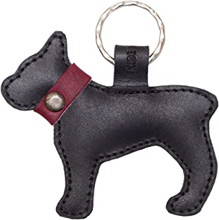 Hide & Drink, Leather Keychain French Bulldog/Key Ring/Holder/Animal Lover/Cute Gifts/Accessories, Handmade Includes 101 Year Warranty :: Charcoal Black