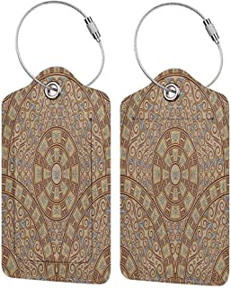 Personalized luggage tag Brown Abstract Art Greek Style Circular Pattern Swirls Floral Oriental Details Image Easy to carry Cocoa and Caramel W2.7