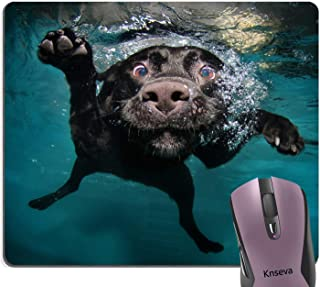 Knseva Cute Black Labrador Retriever Dog Swimming with Expressive Face Mouse Pad Funny Puppy Mouse Pads