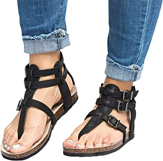 Ruanyu Womens Thong Gladiator Sandals Ankle Strap Buckle Cork Flat Sandals
