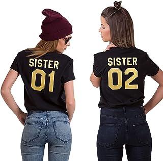 BFF Best Friends Mujer Niñas Camiseta T-Shirt Pareja Sister