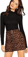 WDIRARA Women's Mid Waist Above Knee O-Ring Zipper Front Leopard Print Skirt