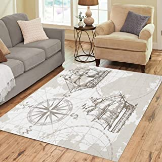 Pinbeam Area Rug Nautical Sea Map Compass and Sailing Ship Perfect Home Decor Floor Rug 5' x 7' Carpet