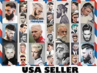 Men's Celebrity Hairstyles #F horiz Poster 34 x 23.5 with 30 Mostly Old-time Retro Vintage Haircuts Barbershop Mens Hair Styles Perfect for Salons (Sent from USA in PVC Pipe)