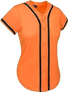 Womens Baseball Button Down Tee Short Sleeve Softball Jersey Active T Shirts