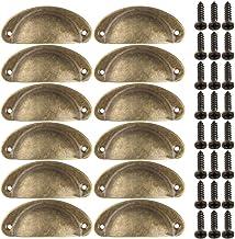 LINVINC 12St Metalen Ladehandvat + Schroefset, Retro Meubeldecoratie Hardware Accessoires,Geel