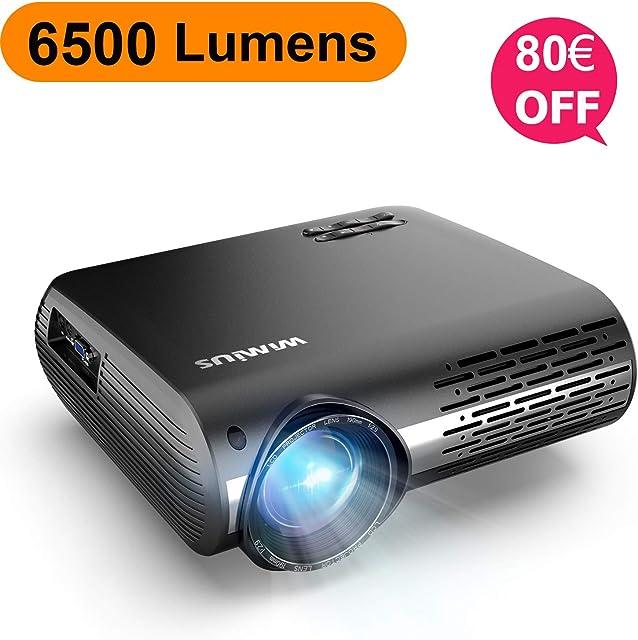 Proyector WiMiUS 6500 Lúmenes Proyector Full HD 1920x1080P Nativo Soporta 4K Proyector Video Sonido Dolby Ajuste Digital 4D 90000 Horas Proyector LED para Cine en Casa y Presentación Empresarial