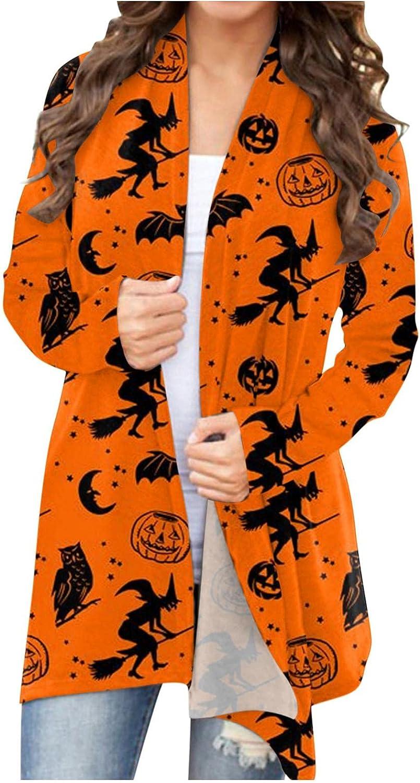 Halloween Cardigan for Women Open Front Open Cardigan Long Sleeve Tops Funny Pumpkin Print Lightweight Coat Sweatshirts