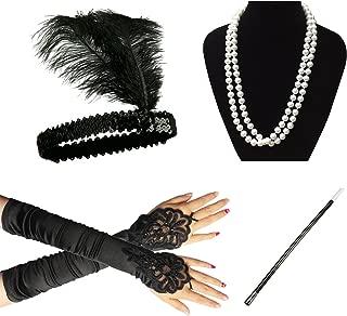 1920er Jahre Zubehör Set Flapper Kostüm für Damen InnoBase Roaring 20s Kostüme Stirnband Ohrringe Perlen Halskette Handschuhe Zigarettenspitze (B)