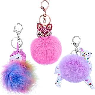 3 Pieces Animal Pom Pom Keychain Cute Fluffy Key Ring for Women Bag Accessories
