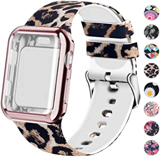 Compatible for Apple Watch Band 38mm Women with Screen Protector Case, Soft Silicone Sport Wristband for Apple Watch iwatch Series 3 2 1 (38mm,Leopard)
