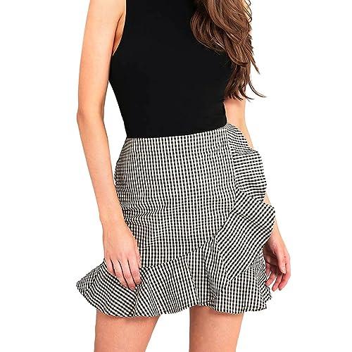 bee9caae46 Women's High Waist Plaid Swing Ruffle Frill Mini Bodycon Skirt Gingham Dress