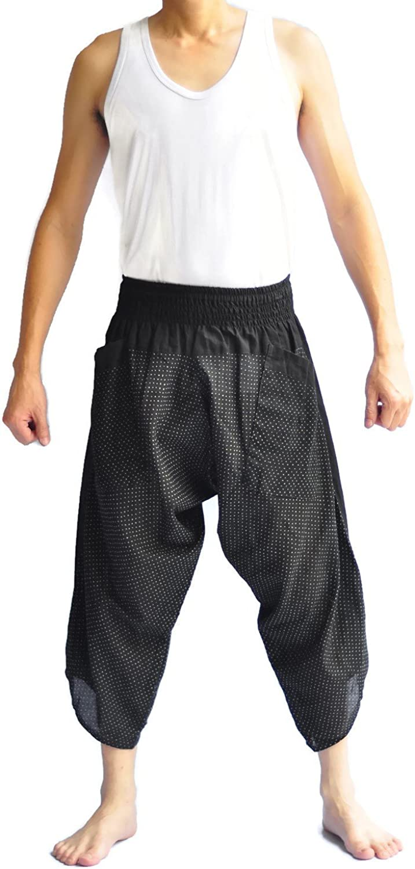 Siam Trendy Unisex Tone Thai Fisherman Pants Yoga Trousers Free Size Cotton Black