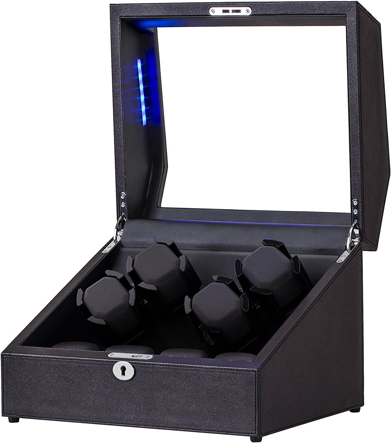 Watch Winder for 4 Watches +4 Extra Storages with Blue Interior Backlight, Lockable Watch Winding Box in Coffee Leather Shell, Silent Mabuchi Motors and 4 Rotation Mode Setting : Clothing, Shoes & Jewelry