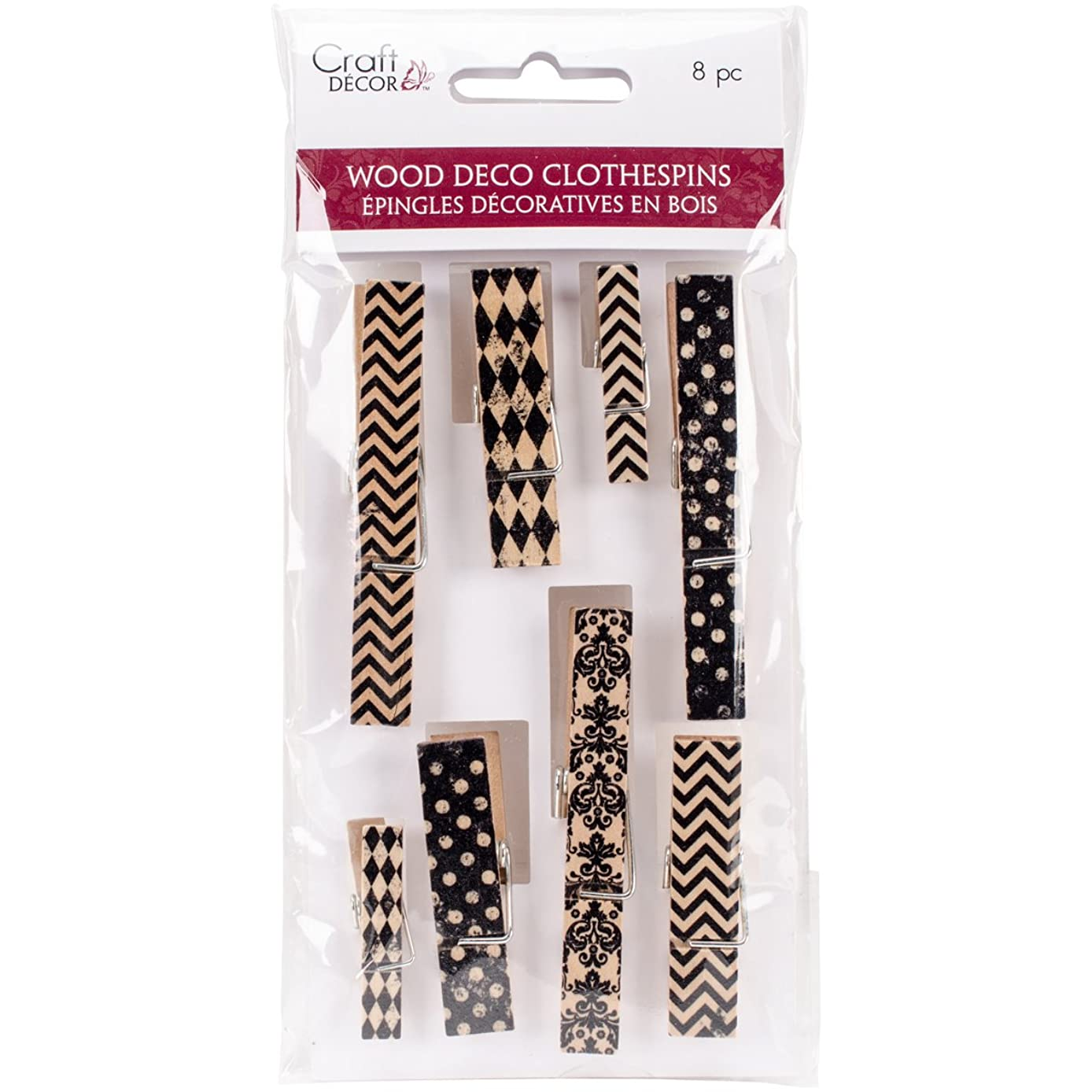 Multicraft Imports CD660A Accent Noir Wood Deco Clothespins, Multicolor