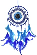 Asian Hobby Crafts Traditional Handcrafted Dream Catcher Wall Hanging with Natural Feathers – Evil Eye Boho Style for Room Decor, Baby Shower, Gifting, Size – 12 x 6 inches (L x Dia)