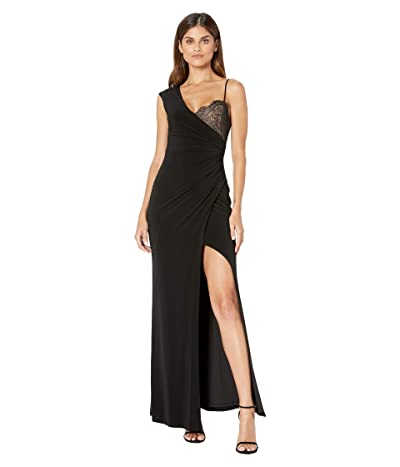 BCBGMAXAZRIA One Shoulder Lace Detail Gown with Slit (Black) Women