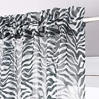 KGORGE Zebra Animal Print Curtains - Faux Linen Textured Sheer Curtains, Pleated Rod Pocket Privacy Light Filtering Voile Drapes for Bedroom Kids Nursery School Dorm, 52 x 45 inch, 1 Pair, Black
