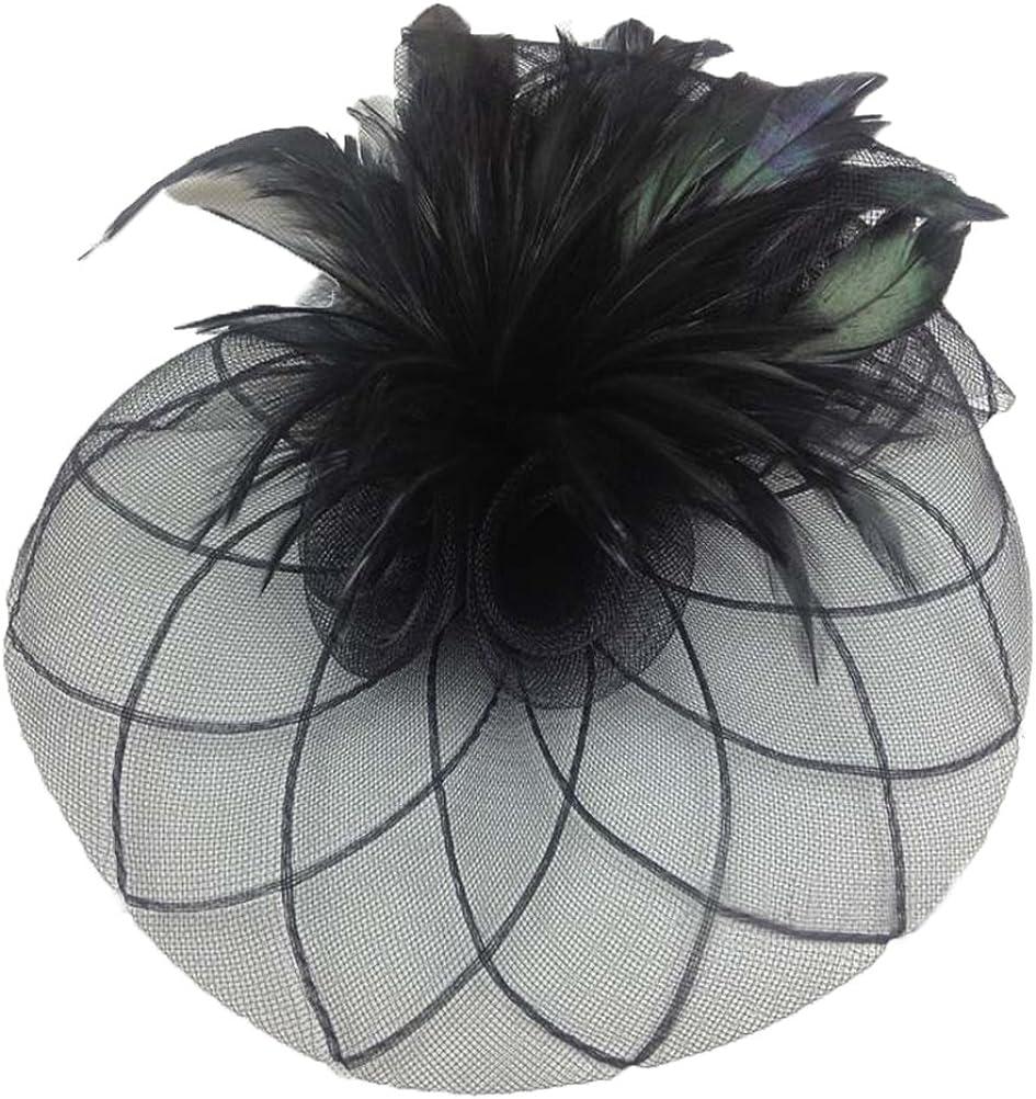 Vivivalue Women Veil Net Fascinator Flower Hats Fascinator Felt Mesh Feather Hair Clip