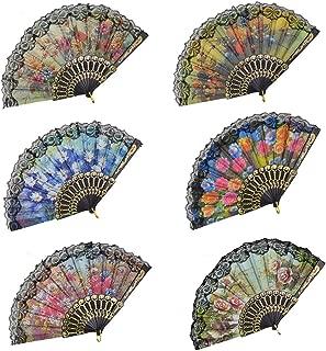 Rbenxia Spanish Floral Folding Hand Fan Flowers Pattern Lace Handheld Fans Size 9