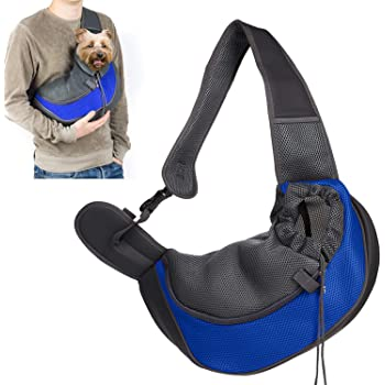 JANKS Pet Sling Carrier, Small Dog Cat Carrier Sling Hands-Free Pet Puppy Outdoor Travel Bag Tote Reversible Comfortable Machine Washable Adjustable Pouch Single Shoulder Carry for Pets Below 6lb