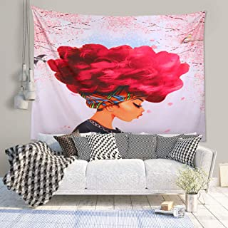 Unitendo African American Black Girl Colourful Print Wall Hanging Tapestries Indian Polyester Picnic Bedsheet Afro Wall Art Decor Hippie Tapestry, 80''X 60''