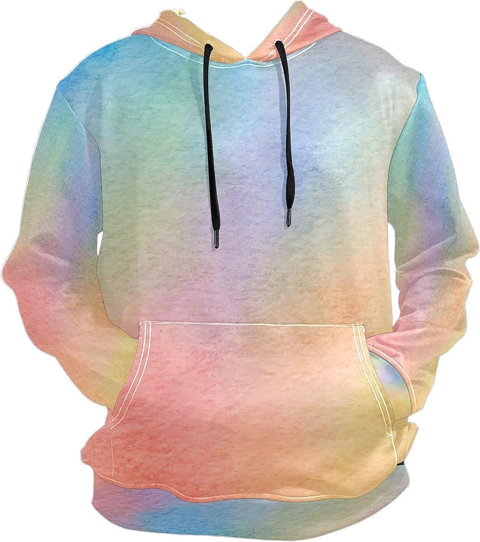Watercolor Rainbow Multicolor Mens Sport Hoodie Big and Tall Hoodies for Men Women Oversized Hooded Sweatshirt Hip Hop Pullover Hoodie Midweight Hood for Boys Girls