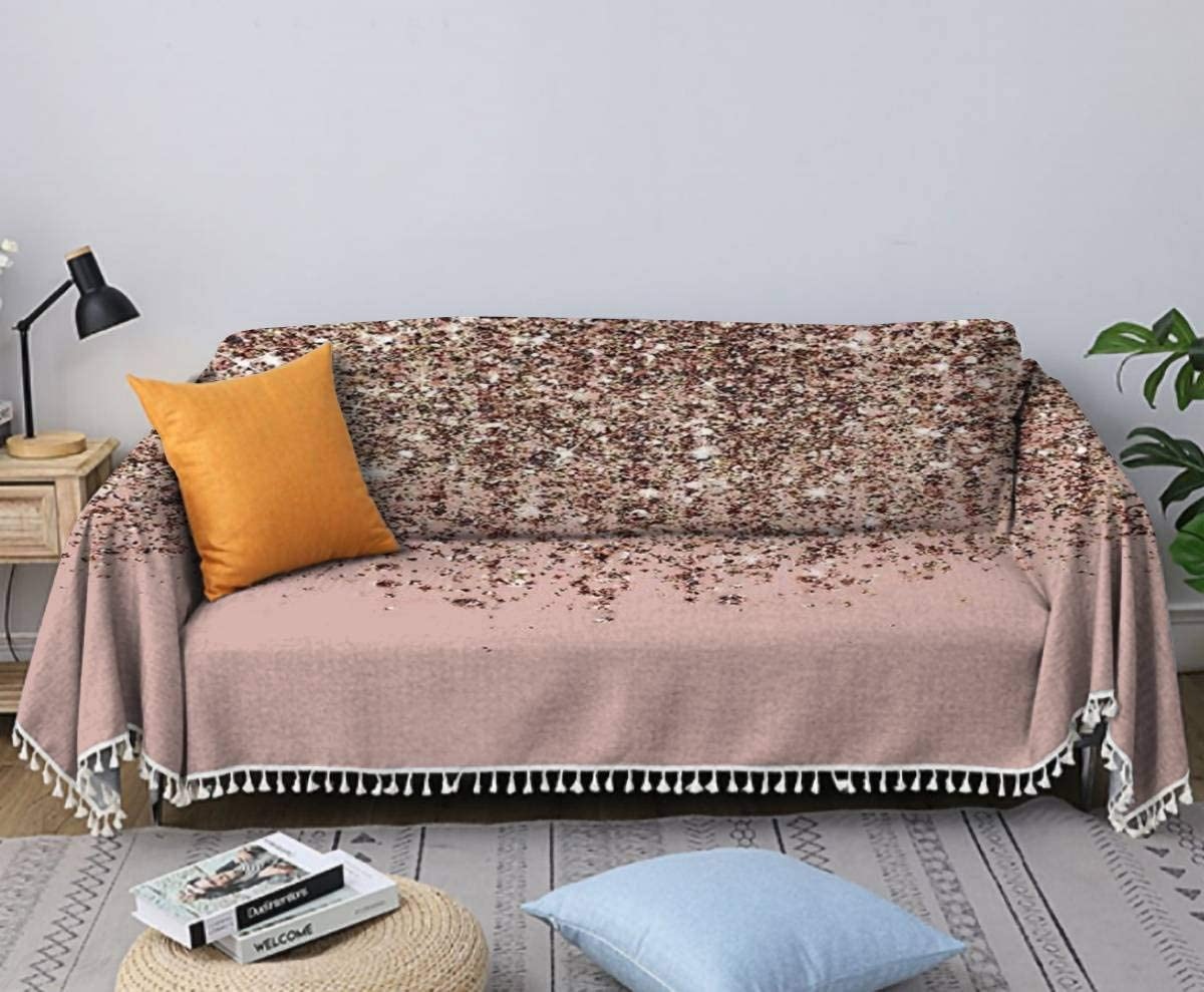 Blush Pink Rose Gold Bronze Cascading Ranking TOP2 Glitter Sofa Same day shipping Cover C Towel