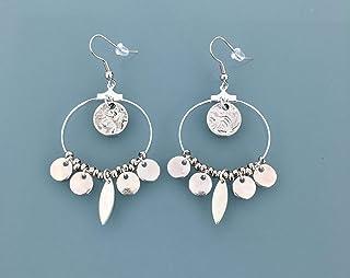 Orecchini creoli in argento in acciaio con nappe in argento, gioielli da donna in argento, creoli in argento, regali di gi...