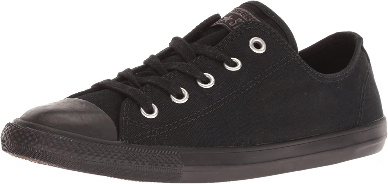 Converse Women's Chuck Taylor Dainty Low Top Sneaker Black Monochrome 6 M US