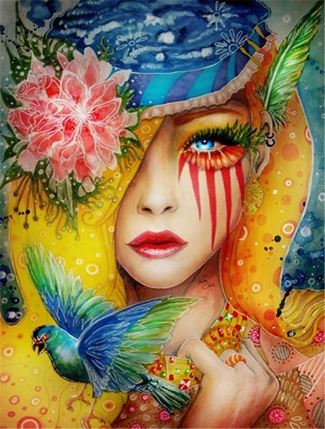 DIY Oil Painting Paint by Number Kit for Kids Adults Beginner 16x20 inch - Mysterious Woman, Drawing with Brushes Christmas Decor Decorations Gifts (Without Frame)