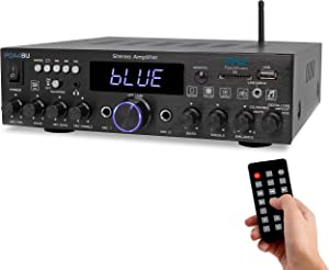Wireless Bluetooth Home Stereo Amplifier - Multi-Channel 200W Power Amplifier Home Audio Receiver System w/Optical/Phono/Coaxial, FM Radio, USB/SD,AUX,RCA, Mic in - Antenna, Remote - Pyle PDA4BU.5