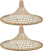 Beaupretty 2 peças de lâmpada de bambu com pingente retrô chineses Coolie Hats em forma de cesta de ratã, cúpula de vime, ...