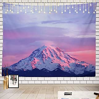 Batmerry Pink Tapestry, Mount Rainier National Park at Sunset Picnic Mat Beach Towel Wall Art Decoration for Bedroom Living Room Dorm, 51.2 x 59.1 Inches, Pink Purple